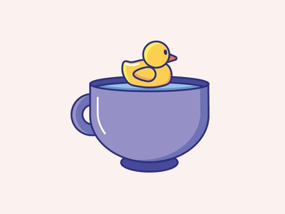 Inktober Day 18   Misfit daily challenge vectober inktober cute icon icon design swim coffee cup cup rubber duck duck misfit