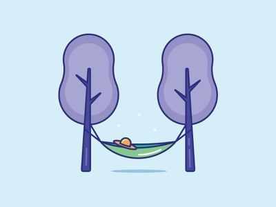 Inktober Day 19   Sling flat color icon designs 2d creative icon design nature relax trees hammock icon vectober inktober sling