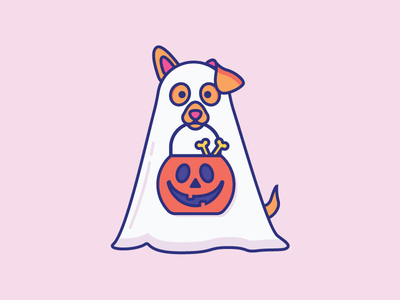 Inktober Day 22   Ghost halloween puppy illustration daily cute icon vectober inktober ghost trick or treat dog