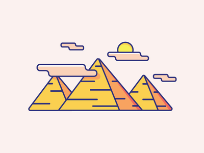 Inktober Day 23   Ancient travel cute color triangles clouds illustration icon design icon pyramids ancient egypt vectober inktober ancient