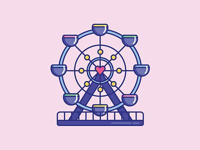 Inktober Day 24   Dizzy design color cute dizzy spin amusement park vectober icon inktober ferris wheel