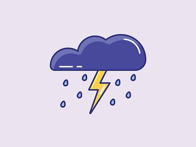 Inktober Day 26   Dark cloud rain lightning design color dark vectober inktober icon storm