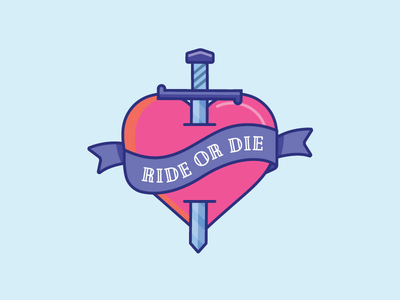 Inktober Day 28 | Ride cute 2d illustration icon design color icon digitober vectober ride heart sword tattoo ride or die inktober