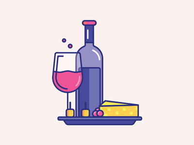 Inktober Day 31 | Ripe design challenge cute vectober color icon wine and cheese cheese wine inktober