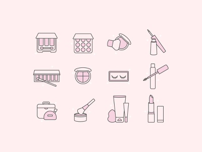 Makeup Essentials Icon Set iconography illustration beauty salon icon design icon sets design makeup artist line 2d color blush pink icons pink beauty makeup icon set icons icon