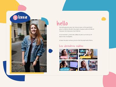 Lizzie Homepage Website landing page identity web pink yellow blue branding design art direction webdesign website typography design colors branding