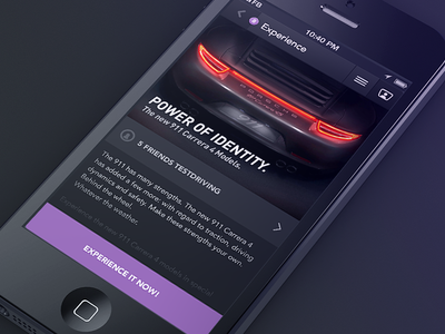 Testdrive app iphone drive car porsche testdrive custom design ux ui dark flat