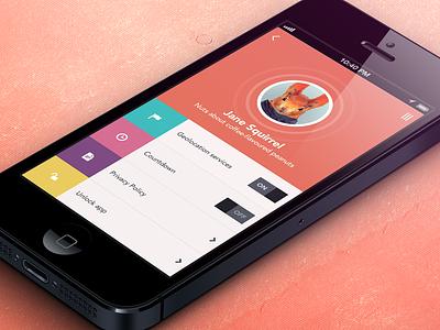 Squirrel Settings iphone ios settings app flat design ui ux orange colorful switch on off