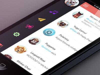 Lister iphone ios settings app flat design ui ux orange color menu side social