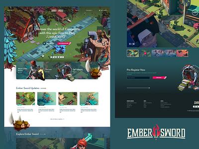Ember Sword ⚔️ hire kickstarter mmo fortnight videogame mmorpg ember sword web design website clean ux design typography branding illustration ui