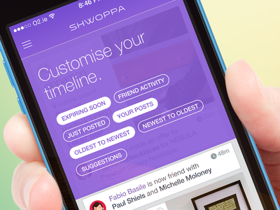 Shwoppa - shopping reinvented ios flat ui design gif animated pan profile timeline ios 7