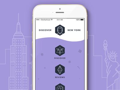 Discover NY mikleo social iphone ux ios purple design ui