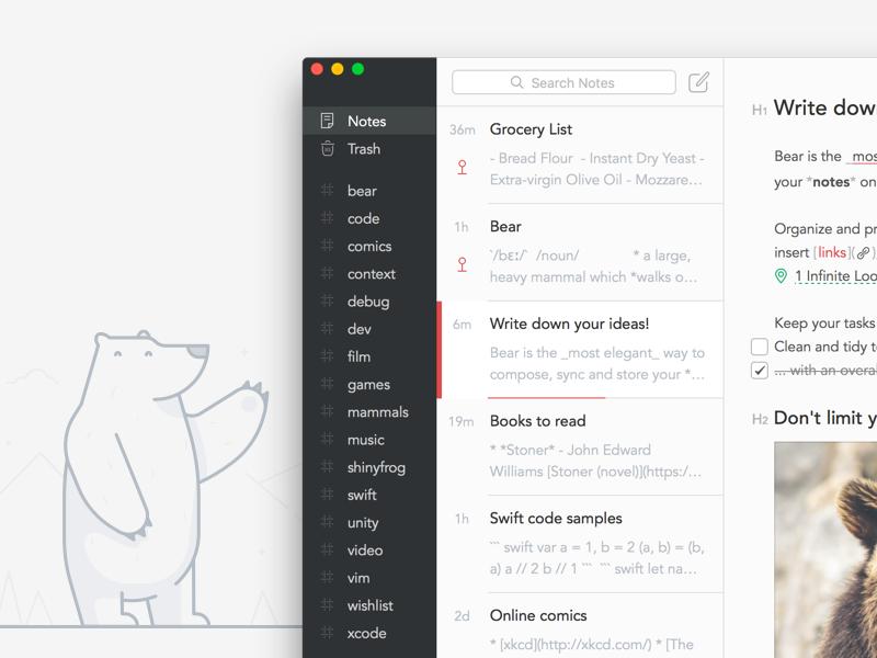 Bear education evernote ipad mac ux ui hire illustration fff design ios macos