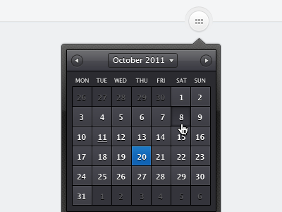 Calendar calendar ui dark drop down overlay