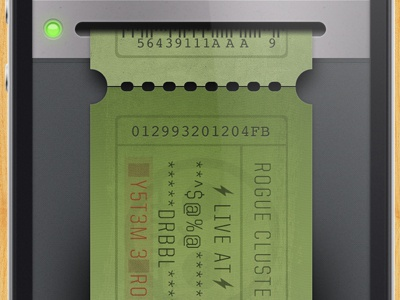 iPhone ticket resolution iphone ticket 2012 ui paper ux led metal texture