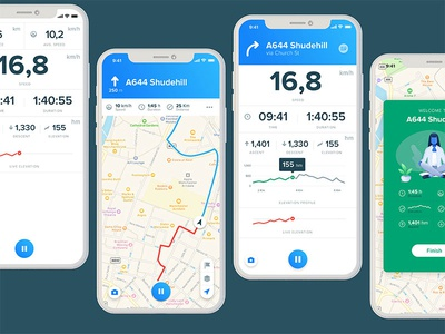 Bikemap london manchester illustration bike ios android cycle fitness startup ux ui