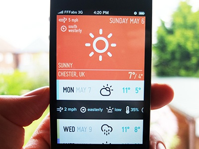 Weatherette weather app ios ui ux custom colors expressive cocoa objc