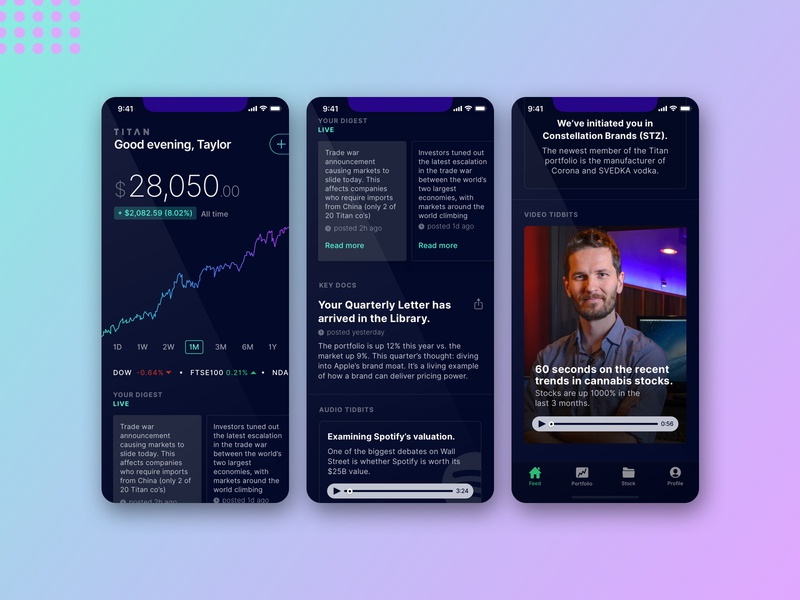 Titan Invest icons android money usability social photo network popular feed trading financial fintech invest design ios ui