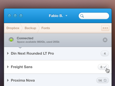 Fontend Backup mac osx retina upload dropbox sync font fonts backup blue os x