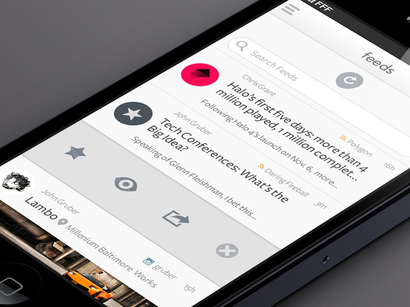 Feeds ios twitter experiment accounts ui ux slider simple clean feeds rss