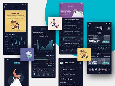 Simba Sleep iOS branding illustration fortnight animation flat iphone app ux design ui ios