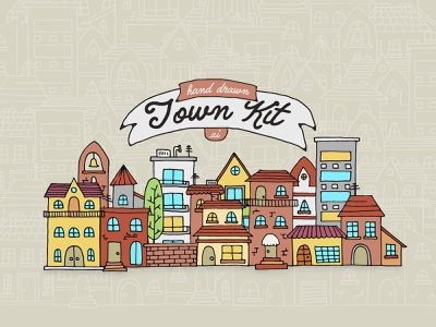 Hand Drawn Town Kit town illustration hand drawn vector