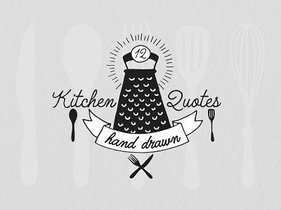 Hand Drawn Kitchen Quotes illustration kitchenware vector elements hand drawn quotes kitchen