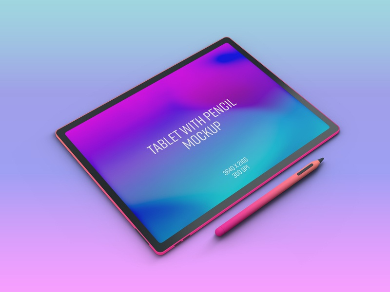 Tablet With Pencil Mockup