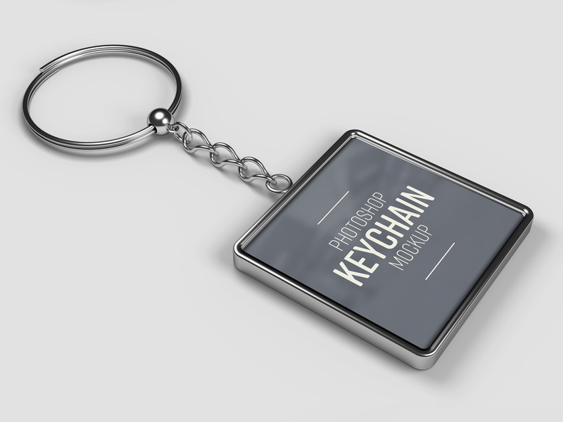Rounded Square Keychain Mockup