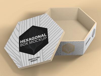 Hexagonal Box Mockup hexagonal box packaging box mockup photoshop