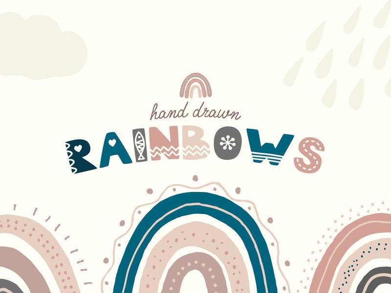 Hand Drawn Rainbows rainbows illustration vector hand drawn