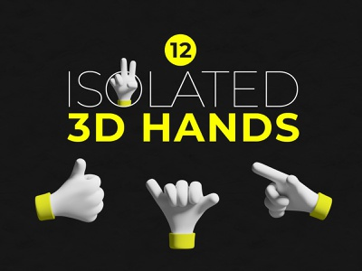 12 Isolated 3D Hands gestures hands 3d illustration photoshop