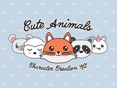 Cute Animals Character Creation Kit character animals illustration vector