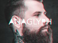 Anaglyph Photoshop Mockup