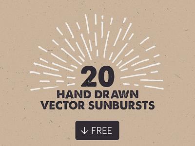 20 Free Hand Drawn Vector Sunbursts light ray logo badge decorative vintage retro sunburst