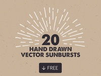 20 Free Hand Drawn Vector Sunbursts