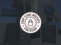 Realistic Shop Sign Mockups (PSD)