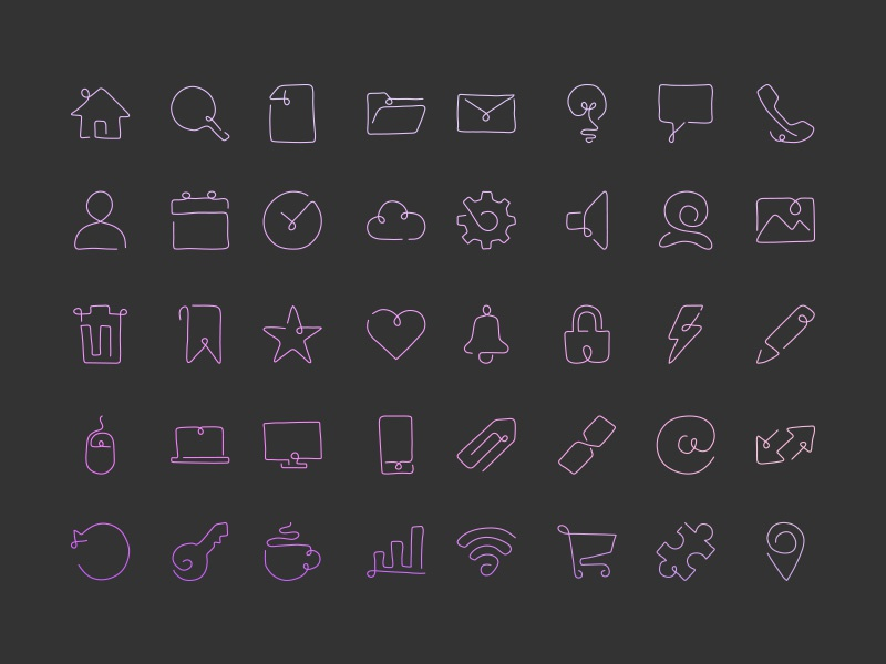 Curved Script Style Single Line Icons vector glyphs hand drawn icons monoline one line single line