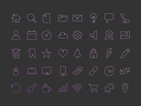 Curved Script Style Single Line Icons