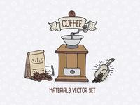 Coffee Shop Materials Vector Set