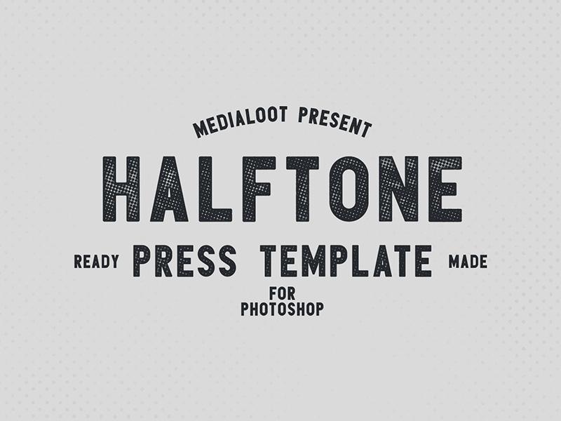 Halftone Press Template hlaftone press halftone vintage mockup retro photoshop