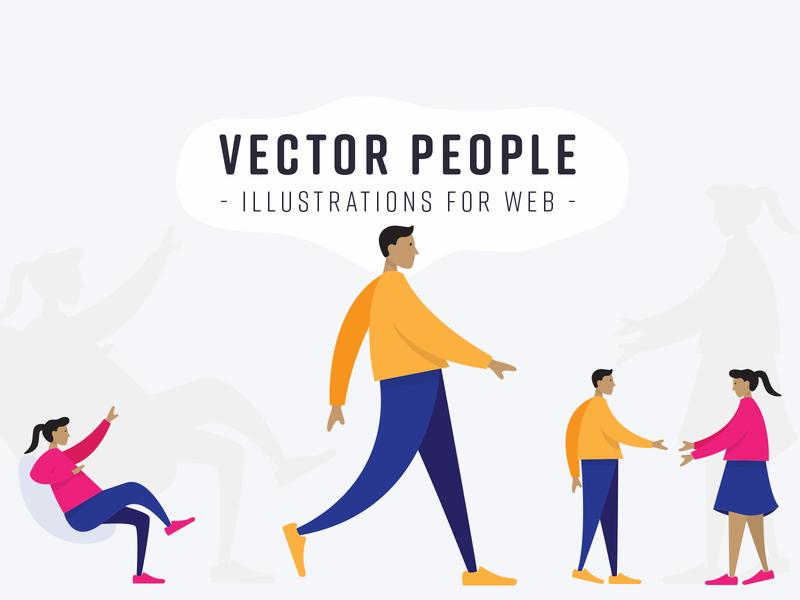 Vector People: Illustrations for Web illustration vector hero headers landing page human figures vector people