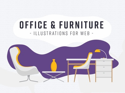 Office & Furniture: Illustrations for Web
