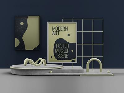 Modern Art Poster Mockup Scene