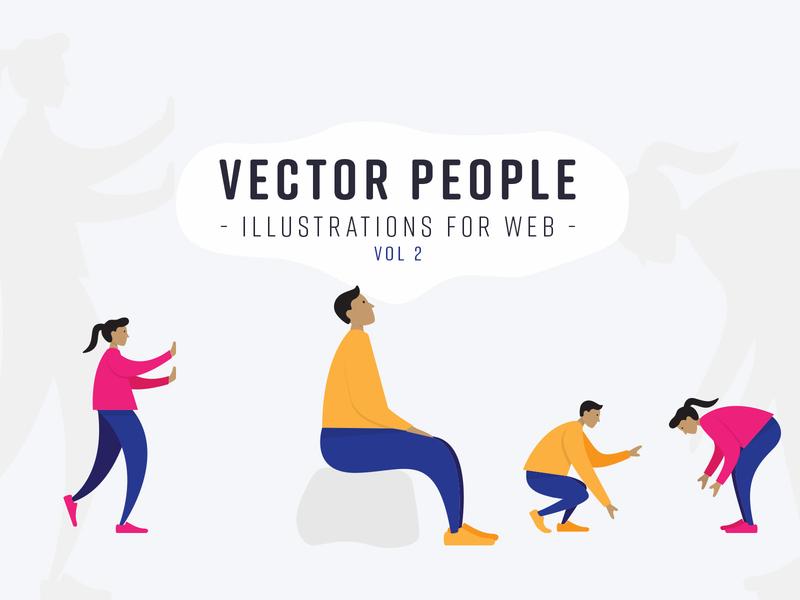 Vector People: Illustrations for Web Vol 2 vector people human figures landing page hero headers vector illustration