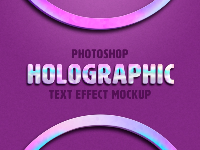 Holographic Text Effect Mockup