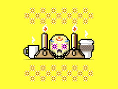 Skullcandy vector skull pixel mexico día de los muertos coffee candy art