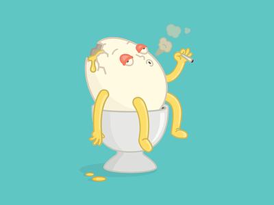 Wake 'n Bake #2 boiled eggs marijuana smoking character design illustration breakfast egg cracked