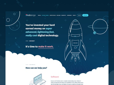 LED Signs Management Company - Landing Page stars planets space rocket vector design webdesign geometry clean minimal ui lines illustration