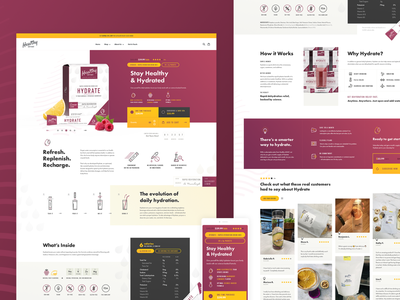 Stay Healthy & Hydrated / Landing page render colorful vector design simple minimal illustration ui webdesign clean